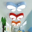 Kindergarten LED Ceiling Lamp Cartoon Flush Mount Light Fixture with Butterfly Acrylic Shade