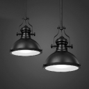 Black Pot Lid Ceiling Light Industrial Metal Single Restaurant Hanging Pendant Light