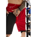 Mens Cool Shorts False Two Piece Camo Print Drawstring Waist Fitted Shorts