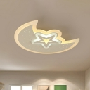 Moon and Star Flush Mount Ceiling Light Kids Metal White LED Hollowed-out Flush Mount