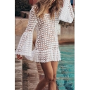 Boho Girls Dress Sheer Lace Bell Sleeve Round Neck Backless Ruffled Short A-line Dress in White
