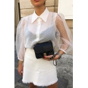 Womens Sexy Sheer Mesh White Polka Dot Print Button Down Half Sleeve Casual Blouse