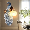 Artistic Peacock Flush Mount Wall Sconce 1-Light Resin Wall Mount Lamp in Blue with Crystal Lampshade