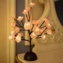 Blooming Tree Battery Table Lighting Art Deco Metal Black Finish LED Night Lamp for Bedroom