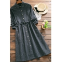 Womens Retro Dress Ditsy Flower Print Long Sleeve Turn Down Collar Button Up Tied Waist Mid A-line Dress in Dark Gray