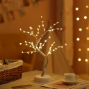 Tree Shaped Battery Table Lamp Modern Plastic Silver Finish LED Night Light for Room Decor