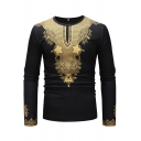 Stylish Guys Tee Top African Floral Print Long Sleeve Crew Neck Slim Fit T Shirt