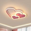 Loving Heart Shaped LED Ceiling Lamp Romantic Minimalist Acrylic Bedroom Flush Mount