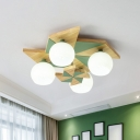 Wooden Windmill Ceiling Flush Mount Light Macaron 4-Head Flush Mount with Dome Milk Glass Shade