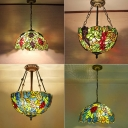 Bowl Shade Pendant Light Fixture 1 Head Cut Glass Tiffany Hanging Lamp with Grape and Leaf Pattern