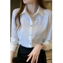 Simple Womens Shirt Solid Color Long Sleeve Spread Collar Button Up Slim Fit Shirt Top