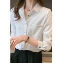 Simple Womens Shirt Contrast Stitch Long Sleeve Spread Collar Button Up Slim Fit Shirt Top in White
