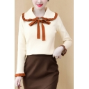 Ladies Pretty Shirt Ribbed Contrast Pipe Long Sleeve Peter Pan Collar Bow Tied Front Regular Fit Shirt