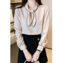 Fancy Ladies Shirt Contrast Piped Long Sleeve Bow-tied Neck Relaxed Shirt in Apricot