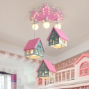 Wooden House Shaped Pendant Lamp Kids 3-Head Multi Hanging Light Fixture for Bedroom