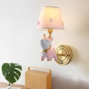 Pink Sika Deer Shaped Wall Light Cartoon Resin Sconce Lamp with Fabric Empire Shade
