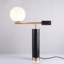 Milky Glass Ball Night Lighting Designer Single Table Light with Marble Column in Black