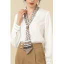 Chic Womens Shirt Chiffon Long Sleeve Printed Tied Front Regular Fit Shirt in White