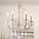 6 Lights Chandelier Baroque Candlestick Suspended Lighting Fixture with Crystal Deco