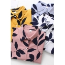 Fancy Women's Shirt Blouse Leaf Pattern Button Fly Point Collar Long Sleeves Regular Fitted Shirt Blouse