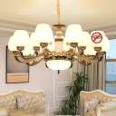 Antiqued Brass Light Fixture Traditional White Glass Bud Indoor Lamp for Living Room