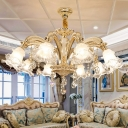 Frost Glass Ceiling Pendant Traditional Gold Flower Shaped Living Room Chandelier with Crystal Drops