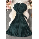 Leisure Women's A-Line Dress Solid Color Pleated Detailed Wrap Front Short Sleeve Long A-Line Dress with Waist Tie
