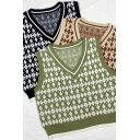 Leisure Women's Knit Vest Contrast Ribbed Trim Diamond Pattern V Neck Sleeveless Regular Fitted Knit Vest