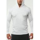 Basic Mens Hoodie Solid Color Long Sleeve Slim Fitted Hoodie