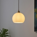 1 Head Fluted Glass Hanging Lamp Vintage Brass Dome Shaped Dining Room Ceiling Light