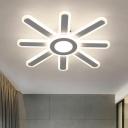 Sunburst LED Flushmount Ceiling Lamp Minimalistic Acrylic White Semi Flush Light for Bedroom