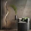 Curved Line Standing Floor Light Modern Metal Living Room LED Floor Lamp in Dark Coffee