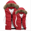 Simple Plain Faux Fur Hem Hooded Zip Up Padded Vest Coat