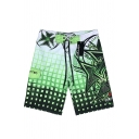 Fast Drying Plaid Printed Mens Swim Trunks Beachwear with Pockets