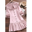 Fancy Ladies Dress Contrast Pipe Long Sleeve Peter Pan Collar Button Up Ruffled Short A-line Dress