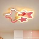 Metallic Star Flush Mount Lighting Kids LED Flush Mount Ceiling Lighting Fixture