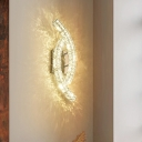 Leaf Shaped Wall Light Modern Crystal Bedside LED Wall Scone Lighting in Stainless Steel
