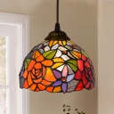 Antiqued Bronze Single Pendant Tiffany Geometric Stained Glass Hanging Ceiling Light