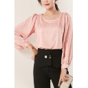Popular Womens Blouse Plaid Printed Blouson Sleeve Round Neck Relaxed Fit Blouse Top