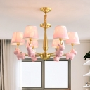 Kids Unicorn Chandelier Resin Baby Room Ceiling Pendant Light with Cone Fabric Shade