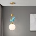 Unicorn Bedside Pendulum Light Resin Single Cartoon Ceiling Pendant with Sphere Opal Glass Shade