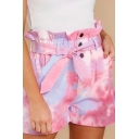 Pretty Womens Shorts Tie Dye Print Tied Waist High Rise Straight Shorts