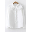 Girls' Lovely Ruffle Trim Peter-Pan Collar Long Sleeve Button Front White Shirt