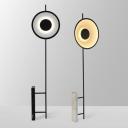 Metallic Circular LED Floor Standing Light Designer Floor Lamp with Marble Block