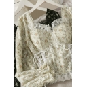 Fashionable Women's Shirt Blouse Trim Patchwork Lace up Front Sweetheart Neck Long Sleeve Pullover Shirt Blouse