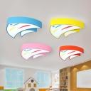 Triangle Fish Shaped LED Ceiling Light Childrens Metallic Classroom Flush Mount Lighting Fixture