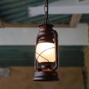 Opal Frosted Glass Drop Pendant Kerosene 1-Light Nautical Pendulum Light for Bedroom