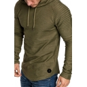 Elegant Men's Hoodie Pleated Detail Raglan Long Sleeves Drawstring Hooded Sweatshirt