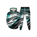 Fancy Men's Set 3D Graphic Pattern Front Pocket Drawstring Hooded Sweatshirt with Banded Cuffs Jogger Pants Co-ords