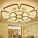 White Flower Shape LED Flush Light Contemporary Metal Semi Flush Ceiling Light for Living Room